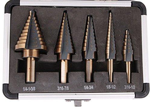 (Driak 5Pcs Cobalt HSS Step Drill Bit Titanium Cone Drill Hole Cutter Bit Set Tool with Aluminum Case)
