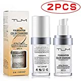 2 Pack TLM Flawless Colour Changing Foundation Makeup, Concealer Cover Cream, Warm Skin Tone Foundation liquid, Base…