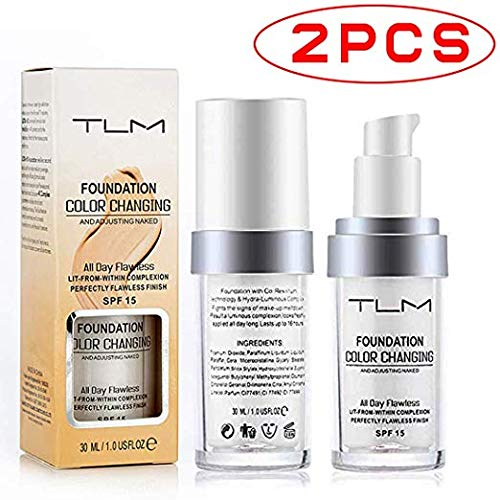 - Concealer Cover,TLM Flawless Colour Changing Warm Skin Tone Foundation Makeup Base Nude Face Moisturizing Liquid Cover Concealer for Women Girls SPF15 (2pcs)