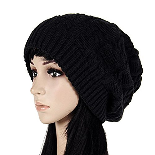 Oversized Knit (Merryshop Slouchy Long Beanie Knit Hat Cap for Winter Oversize (Black))