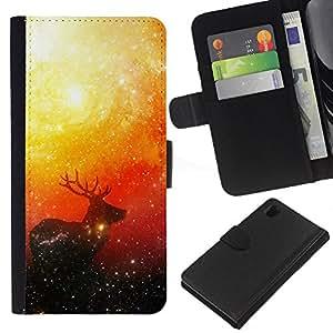JackGot ( Espacio ciervos ) Sony Xperia Z1 L39 la tarjeta de Crédito Slots PU Funda de cuero Monedero caso cubierta de piel