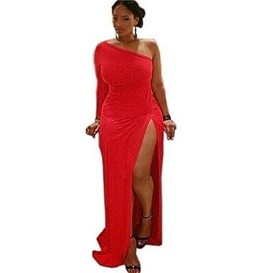 buy popular 6e487 d6343 DaBag-Einfarbige Damen Rot Lange Kleid Groß Größe Edel Kleid ...