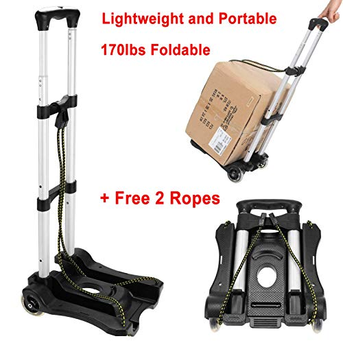 (170lbs Folding, Collapsible, Space-Saving Aluminium Cart Luggage Trolley Hand Truck and Dolly Ideal for Home, Auto, Office and Travel Use + Free 2 Ropes)