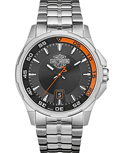 Harley-Davidson Men's Bulova Watch, Silver Bar & Shield, Stainless Steel 76B170