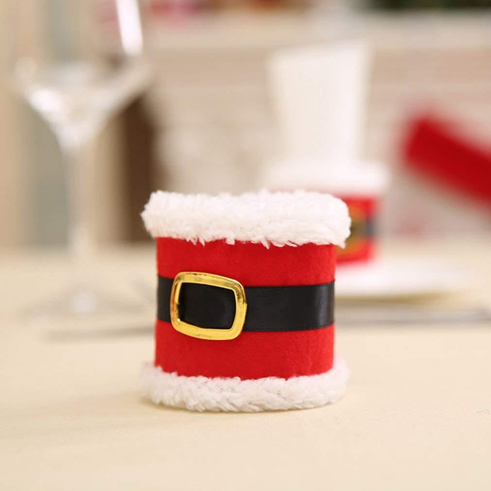 Naisidier - Servilletas de Navidad, Anillos, Toallas, diseño de Cinturones de Papá Noel, decoración de Mesa, jardín, hogar, Cocina, decoración de Navidad: ...