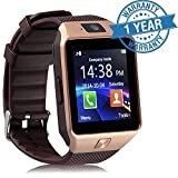 Padraig Mi Redmi Note 4G Compatible Bluetooth DZ09 Smart Watch Wrist Watch Phone with Camera & SIM Card Support (Gold)