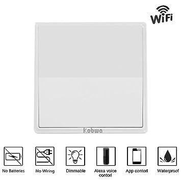 KOBWA Dimmer-Lichtschalter, Drahtlose Wi-Fi Funkschalter Wasserdicht ...