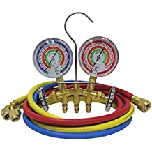 """Mastercool (59161) Brass R410A, R22, R404A 2-Way Manifold Set with 3-1/8"""" Gauges, 3-60"""" Hoses and Standard 1/4"""" Fittings"""