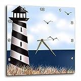 3dRose Lighthouse on The Beach – Wall Clock, 10 by 10-Inch (dpp_182325_1)