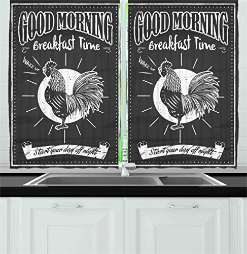 (Ambesonne Kitchen Decor Collection, Chalkboard Kitchenware Menu Art Morning Rooster Retro Vintage Style Cafe or Home Design, Window Treatments for Kitchen Curtains 2 Panels, 55X39 Inches, Black White)