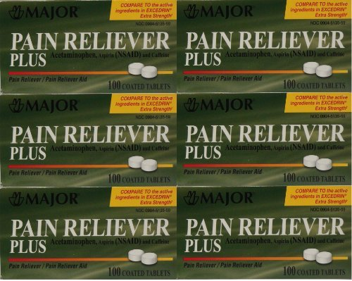 Headache Pain Relief Generic for Excedrin Extra Strength Acetaminophen Aspirin & Caffeine Tablets 100 Per Bottle Pack Of 6 Total 600 Tablets by Major Pharmaceuticals