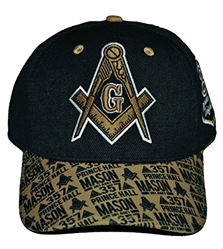 Prince Embroidered Hat - Prince Hall Mason Baseball Cap Masonic Lodge Hat Embroidered Black Gold