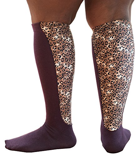 - Xpandasox Women's Plus Size/lymphedema Cotton Blend Leopard Panel Knee High Socks