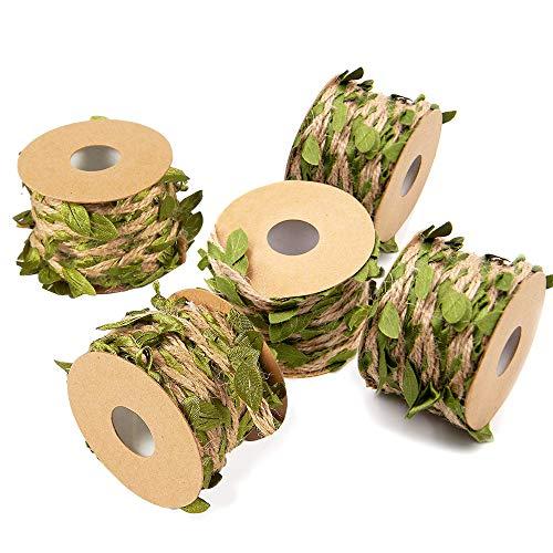 Exsun 82 Feet Jute Twine Leaf Garland 5mm Artificial Burlap Vine Greenery for Home Garden Wedding or DIY Craft Decoration, 5 Rolls -