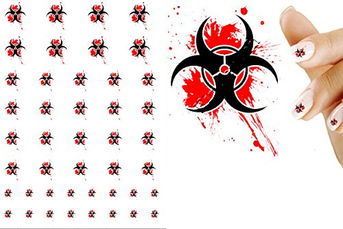 Biohazard Blood Splatter Zombie Nail Art Decal -