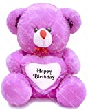 Richy Toys 50 cm Birthday Heart Stuffed Soft Plush Toy Kids Teddy Bear (Purple)