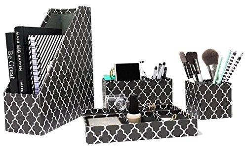 Beautiful Gray Desk Accessories Organizer Set  4 Pcs Set   Fun, Stylish Gray Trellis  Design  Stores Magazine, File Folders, Mails, Bills, Office Or Beauty  Supplies