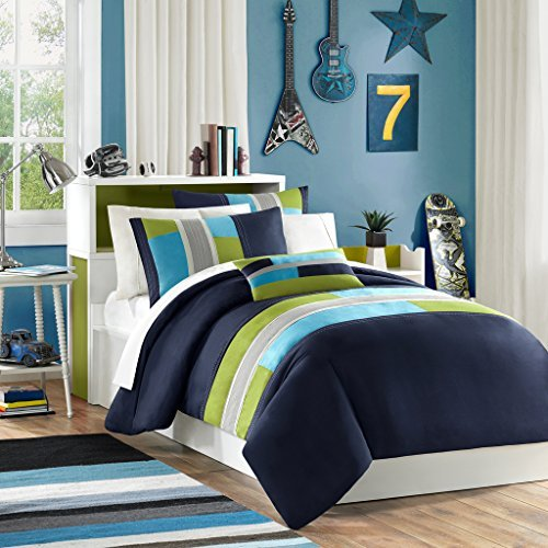 Mi Zone Pipeline Full/Queen Duvet Cover Set Kids Boy - Navy Blue, Striped Pieced – 4 Piece Bed Set Cover – Ultra Soft Microfiber Kid Boys Bedding Set
