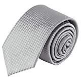 Jacob Alexander Boys Tone on Tone Houndstooth Neck Tie - Silver