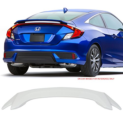 Pre-Painted Trunk Spoiler Fits 2016-2018 Honda Civic | Factory Style #NH788P White Orchid Pearl ABS Trunk Boot Lip Spoiler Wing Deck Lid By IKON MOTORSPORTS | 2017 Coupe Oe Style Spoiler