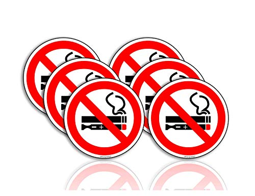 No Smoking No Vaping Sign Stickers 6 in. Window Door Decal Pack of 6 Laminated with Clear Film | Retail Signs for Restaurants, Retail Stores, Salons, Gas Stations,Offices and Hotels
