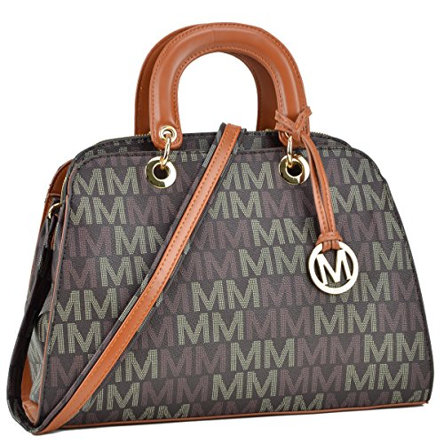 MMK Collection Monogram Logo Vegan Leather Semi Dome Shape Women Multi-Functional Satchel and belted Tote with Open Side Pockets (ML-MU6346-BR) (Tote Pocket Handbag Belted)