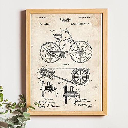 Nacnic Azul - Pack de 4 láminas con Patentes de Bicicletas. Set de ...