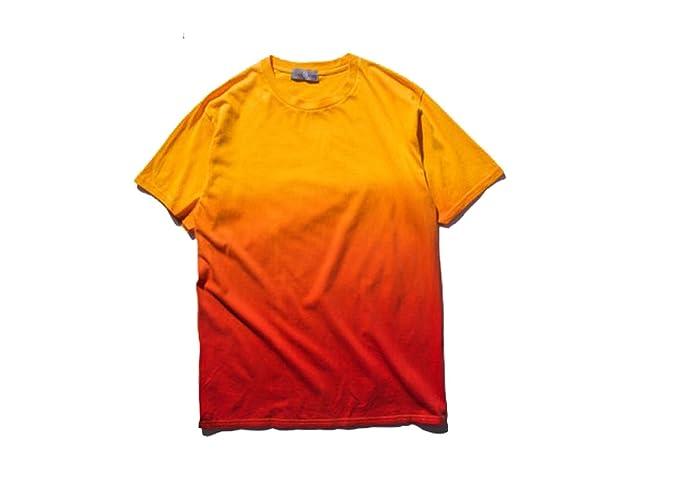 Camisetas de Manga Corta básicas Estampada Degradado para Hombre (M, Naranja)