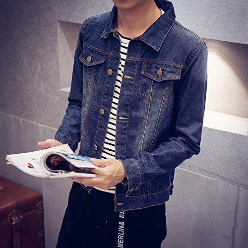 Uomini 2xl 96a Di Giubbotto Jeans Casuale Camicia Luce Versione Denim Retrò 185 Rétro Blu Coreana Giovane Lavato Sau Autunno AtUxfApq
