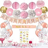KTDUO - Bridal Shower Decorations Kit | Bachelorette Party Decor | Pink & Gold Theme Stagette Party Supplies | Includes - Bride To Be banner + Sash+ Pink Pom Poms + Rose Gold Confetti Balloons & Other Accessories...