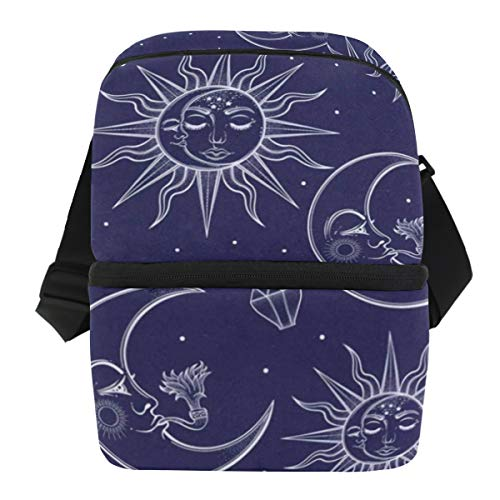 Ice Maker Stainless Steel Toe - Lunch Bag Moon And Stars Reusable Cooler Bag Mens Leakproof Food Box Zipper Tote Bags for Golf