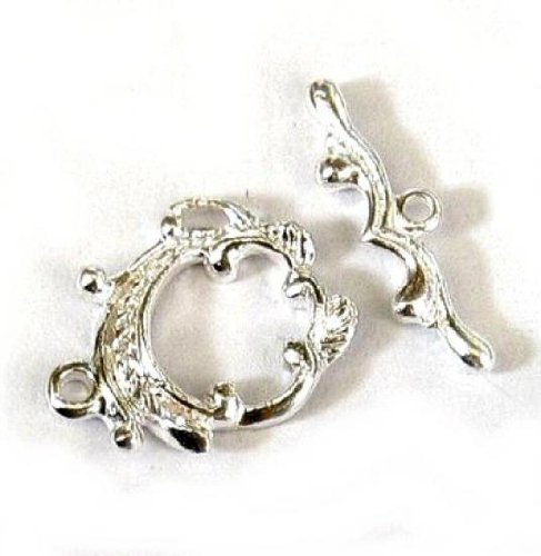 - 1 set .925 Sterling Silver Flower Leaf Ring Bar Toggle Clasp Link Connector Bead 17.5mm / Findings / Bright
