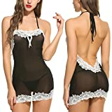Avidlove Women Sexy Lingerie Halter Backless Lace Trim Babydoll G-String 2 Piece Set Sleepwear Black Small