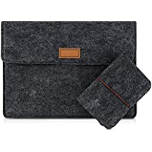 "kwmobile Noble Laptop Sleeve Case for 9,7 - 10,1"" Tablet made of durable felt in dark grey - 3 pockets for your accessories Inner dimensions: approx. 28,0 x 20,0 cm"