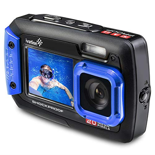 Ivation 20MP Underwater Shockproof Digital Camera & Video Camera w/Dual Full-Color LCD Displays - Fully Waterproof & Submersible up to 10 Feet (Blue) (Renewed)