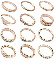 LOLIAS 58-104 Pcs Vintage Knuckle Ring Set for Women Girls Stackable Rings Set Hollow Carved Flowers