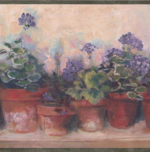 Victorian Wide Bench (Violet Purple Flowers in Pots on Bench Beige Floral Wallpaper Border Retro Design, Roll 15' x 6.75'')