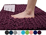 Yimobra Original Luxury Shaggy Bath Mat Large Size 31.5 X 19.8 Inch Super Absorbent Water,Non-Slip,Machine-Washable,Soft and Cozy,Thick Modern for Bathroom,Bedroom,Floor,Plum (Presented 3 Pack Hooks)