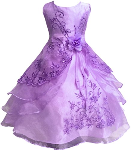 Shiny Toddler Little Girls EmbroideLilac Beaded Flower Girl Birthday Party Dress with Petticoat 2t to 3t(Tag100),Lilac - Girls Lilac Flower Girl