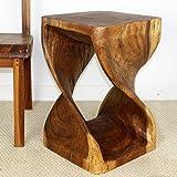 Strata Furniture TET1523 Twist Side Table, Walnut, 15″ x 23″ For Sale