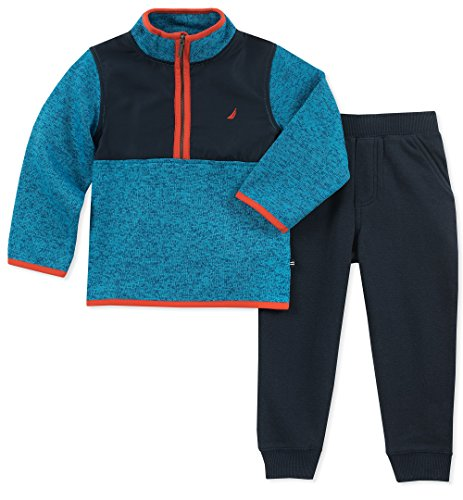 (Nautica Sets Baby 2 Pieces Sweater Pants Set, Blue/Navy/Orange 3-6 Months)