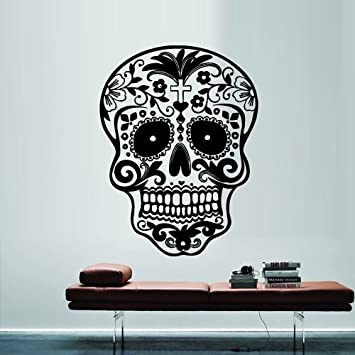 Wall decal decor decals art sugar skull sticker graphics emo goth gothic metal gift m712