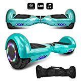 "6.5"" inch Wheels Electric Smart Self Balancing Scooter Hoverboard with Speaker LED Light - UL2272 Certified (-Carbon Fiber Design Blue)"