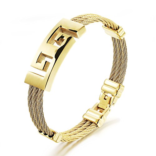 Fate Love Great Wall Pattern Mens 3-Strands Rope Titanium Steel Bracelets Gold Plated Finish