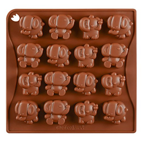 Chige 16 Cavity Elephant Candy Mold Trays, Silicone Baking Pan - Food Grade & BPA Free - Not Sticky Cake Decoration Mould For Mousse,Chocolate Brownie,Jelly,Ice Cream,Chiffon,Cheesecake,Fondant