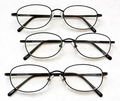 - (3 PACK + BONUS) Magnivision +1.75 TITANIUM (T4) Black Oval Metal Wire Rim Reading Glasses + 1 FREE BONUS TRAVEL GLASS POUCH & 1 MICRO-SUEDE CLEANING CLOTH