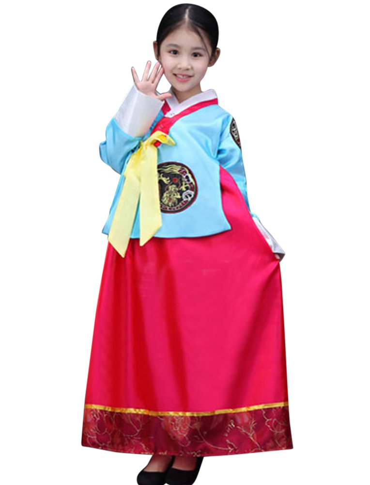 4525b63cd7 Galleon - CRB Fashion Girls Traditional Kids Korean Hanbok Outfit Dress  Costume (120cm, Blue Red)
