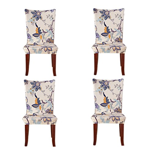 Jiuhong Stretch Removable Washable Short Dining Chair Protector Cover Slipcover, Style 01, 4 Pack (Dinning Room Chair Covers)