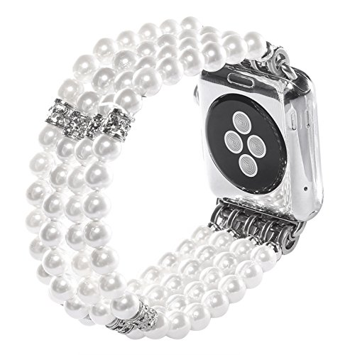 Juzzhou Band For Apple Watch iWatch Series 1/2/3 Replacement Bracelet Handmade Beaded Faux Pearl Natural Bling Stone Crystal Agate Jewels Elastic Stretch Wrist Strap Wristband Wriststrap White 38mm by Juzzhou (Image #2)