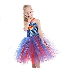 - 51Z7pj41 2BdL - Dream-Store Little Girls Costume Dress Halloween Super Girls Cosplay Dress Costumes for Toddler and Girls